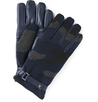 Valentino Camouflage Cashmere And Leather Gloves Blue