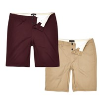 River Island Brown And Burgundy Chino Shorts Pack