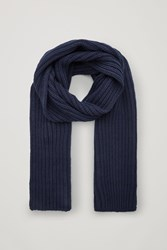 Cos Chunky Knit Wool Scarf Blue