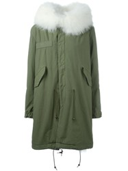 Mr And Mrs Italy Fox And Raccoon Fur Lined Parka Green