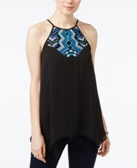 Amy Byer Bcx Juniors' Embroidered Trapeze Halter Top Black