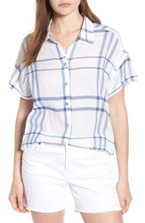 Liverpool Jeans Company Crinkle Cotton Short Sleeve Blouse White Blue