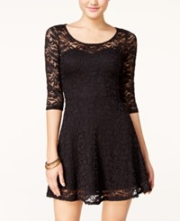 Material Girl Short Sleeve Lace Skater Dress Caviar Black