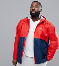 Jacamo Snow Performance Shell Jacket In Colourblock Rust Navy Red