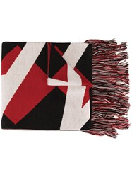 Msgm Fringed Scarf Red