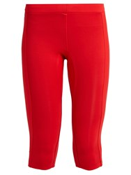 Aeance Compression Panel Cropped Performance Leggings Red