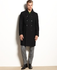 Kenneth Cole New York Egan Double Breasted Wool Blend Over Coat Slim Fit Black