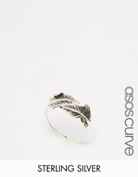 Asos Curve Sterling Silver Open Leaf Ring Burnished Silver