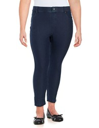 Hue Plus Essential Denim Capri Leggings Deep Indigo
