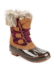 Khombu Julliard Faux Fur Accented Duck Boots Brown