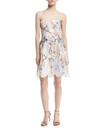 Monique Lhuillier Strapless Floral Lace Minidress White White Pattern