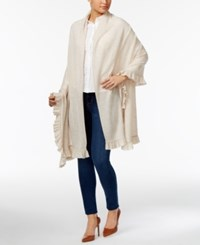 Charter Club Wool Cashmere Ruffled Wrap Only At Macy's Heather Brioche