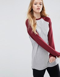 Asos Longline T Shirt With Contrast Sleeve Grey Marl Red