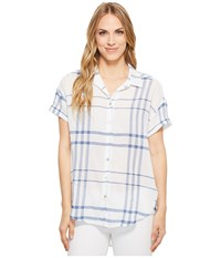 Liverpool Rounded Shirt White Blue Plaid Women's Short Sleeve Button Up