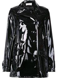 Faith Connexion Glossy Effect Double Breasted Coat Black