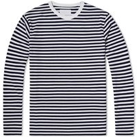 Nanamica Coolmax Long Sleeve Stripe Jersey Tee Blue