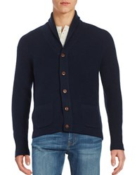 Brooks Brothers Shawl Collar Merino Wool Cardigan Blue