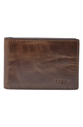 Fossil 'Derrick' Leather Money Clip Wallet Dark Brown