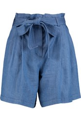 3.1 Phillip Lim Belted Pleated Chambray Shorts Mid Denim