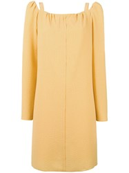 See By Chloe Cut Out Shoulder Dress Yellow Orange