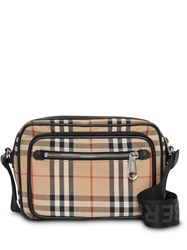 Burberry Vintage Check And Leather Crossbody Bag Neutrals