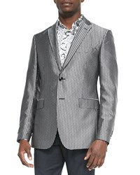Etro Square Jacquard Evening Jacket Black White