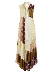 Golden Goose Deluxe Brand Daisy Neck Tie Patchwork Maxi Dress Multi