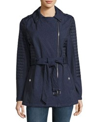 Michael Michael Kors Soft Shell Jacket W Quilted Sleeves Navy
