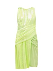 Sies Marjan Quincey Ruched Sequinned Dress Yellow