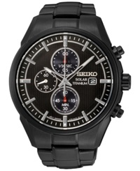 Seiko Men's Chronograph Solar Black Ion Plated Titanium Bracelet Watch 42Mm Ssc393 No Color