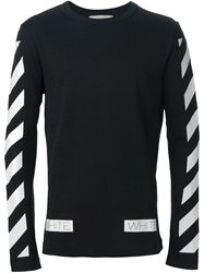Off White Striped Print Sweater Black