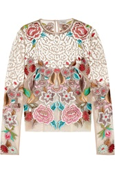 Temperley London Baudelaine Embroidered Tulle Top
