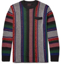 Sacai Striped Jacquard Knit Cotton Blend Sweater Pink