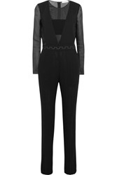 Vionnet Paneled Wool Blend And Silk Organza Jumpsuit Black