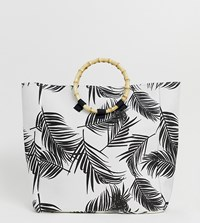South Beach Exclusive Palm Print Bag With Bamboo Effect Handle Multi