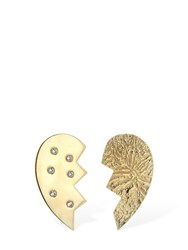 Magda Butrym Heart Leaved Mismatched Earrings Gold