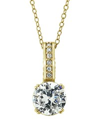 Lord And Taylor 18Kt Gold Cubic Zirconia Solitaire Pendant Necklace
