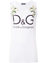 Dolce And Gabbana Floral Print Tank Top White