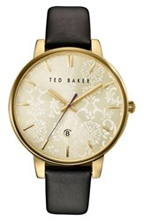 Ted Baker Women's London Leather Strap Watch 40Mm Black Gold