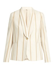 Brunello Cucinelli Striped Single Breasted Cotton Jersey Jacket Ivory
