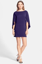 Milly Butterfly Sleeve Stretch Silk Dress Purple
