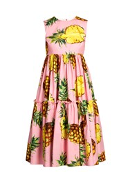 Dolce And Gabbana Pineapple Print Tiered Poplin Dress Pink Multi