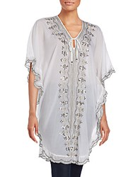 Saks Fifth Avenue Sequin Embroidered Tunic White