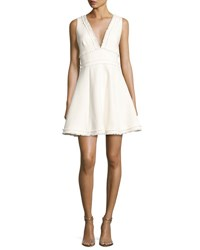 Cinq A Sept Aurora Fringe Trim V Neck Fit And Flare Dress Ivory