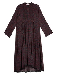 Chloe Cherry Print Silk Crepon Midi Dress Purple