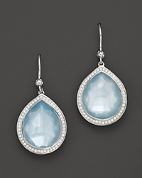 Ippolita Sterling Silver Stella Earrings In Blue Topaz And Mother Of Pearl Doublet With Diamonds