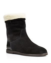 Furla Melany Faux Shearling Fold Over Booties Onyx