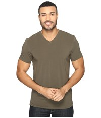 Kenneth Cole Short Sleeve V Neck Army Green Men's Short Sleeve Pullover