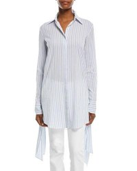 Michael Kors Moroccan Striped Streamer Side Long Sleeve Cotton Gauze Shirt Blue White