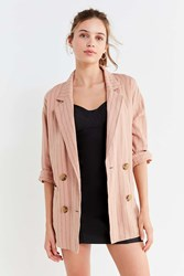 Urban Outfitters Uo Double Breasted Striped Blazer Pink
